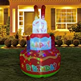GOOSH 6.8 FT Height Birthday Inflatables Outdoor Happy Birthday Cake with Candles, Blow Up Yard Decoration Clearance with LED