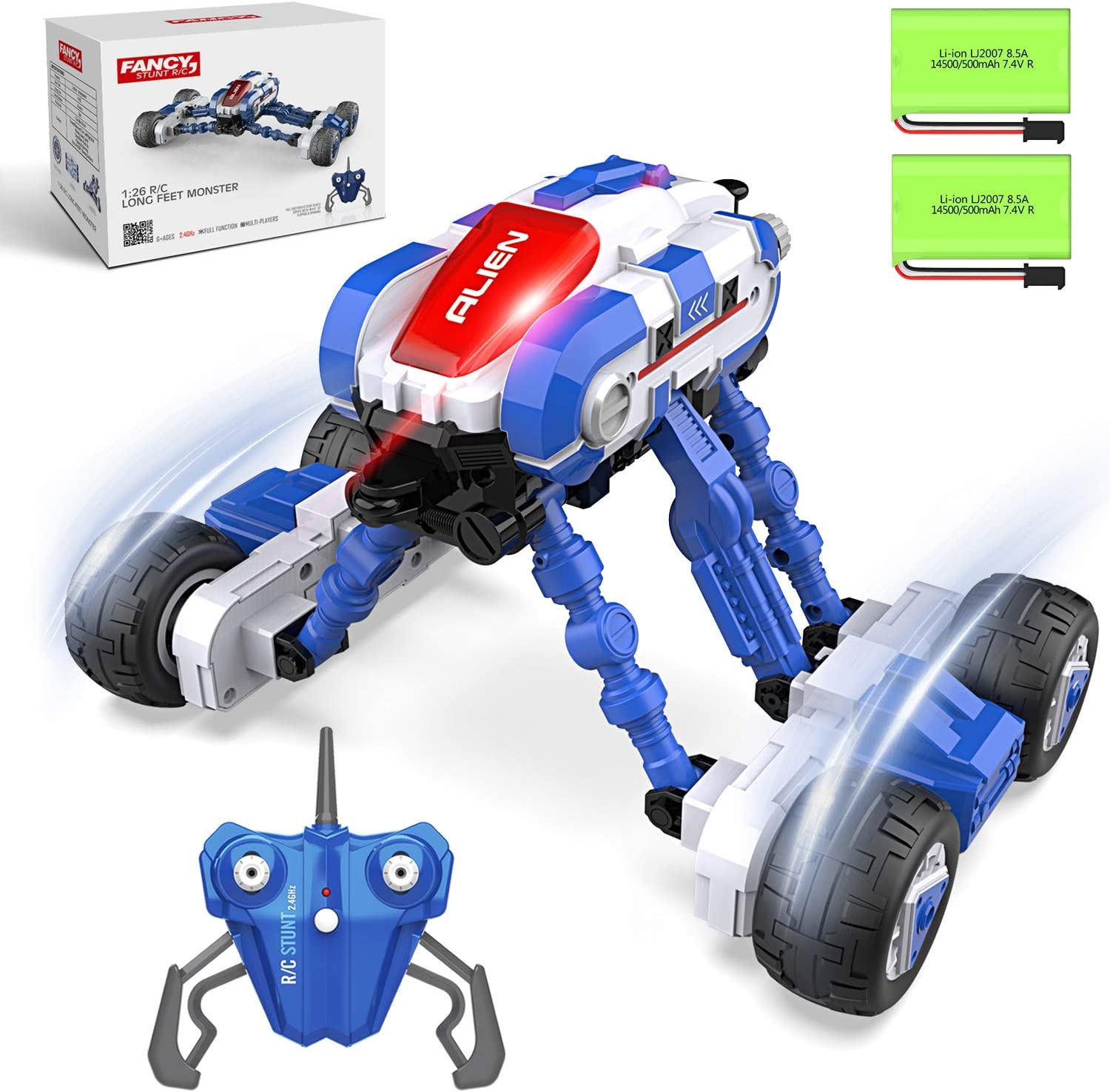 RC Cars, HBUDS 2.4GHz Remote Control Electric 4WD High Speed Monster Truck Toys, 2 Batteries for 40 Min Play, Off Road Crawler Stunt Car 360° Flips Vehicles Hobby Gift for Boys & Girls: Toys & Games