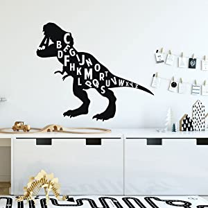 Children's Dinosaur Wall Decor | T-Rex Silhouette Eating the Alphabet | Perfect For Children's Bedroom, Playroom or Classroom | Removable Vinyl Lettering Stickers | Dino Theme Decor | Small and Large Sizes | Black, Red, Green, Blue