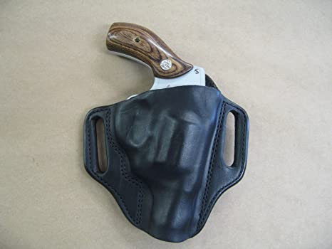 Smith & Weson S&W 36, 60, 640, 642, 442 Leather 2 Slot Molded Pancake Belt  Holster BLACK RH