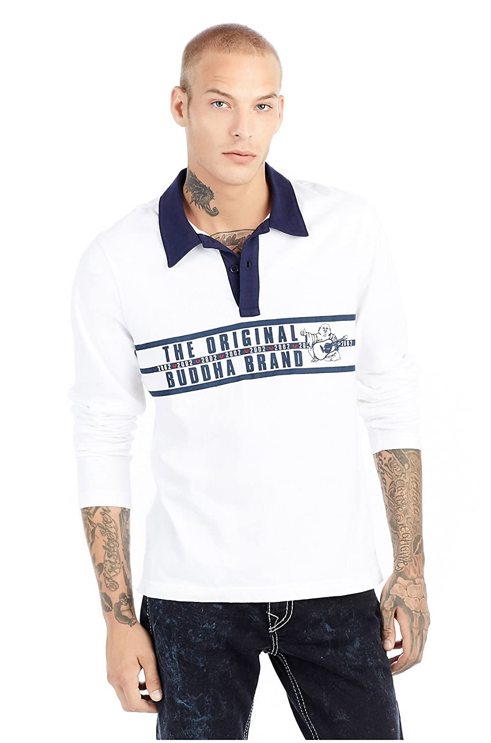 1c3c8ab1e0f Amazon.com: True Religion Men's Stripe Buddha Long Sleeve Rugby Polo Shirt:  Clothing