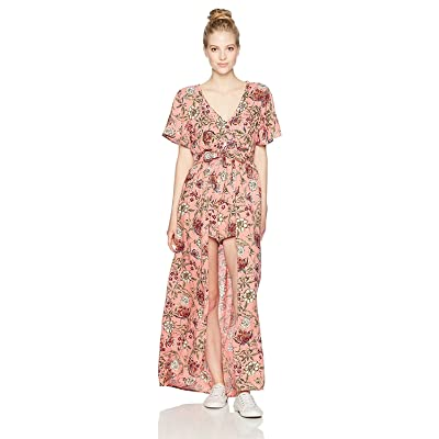 Angie Women's Printed Vneck Maxi Romper with Sleeves Coral Small [並行輸入品]