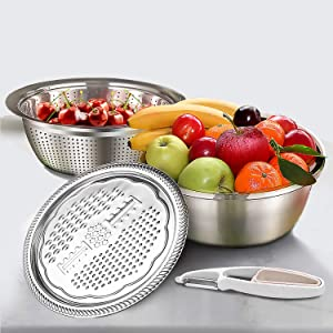 AmzElite 10in Multifunctional Stainless Steel 3-1 Kitchen Set includes Vegetable Grater, Drain Strainer, Food Bowl Container with Peeler