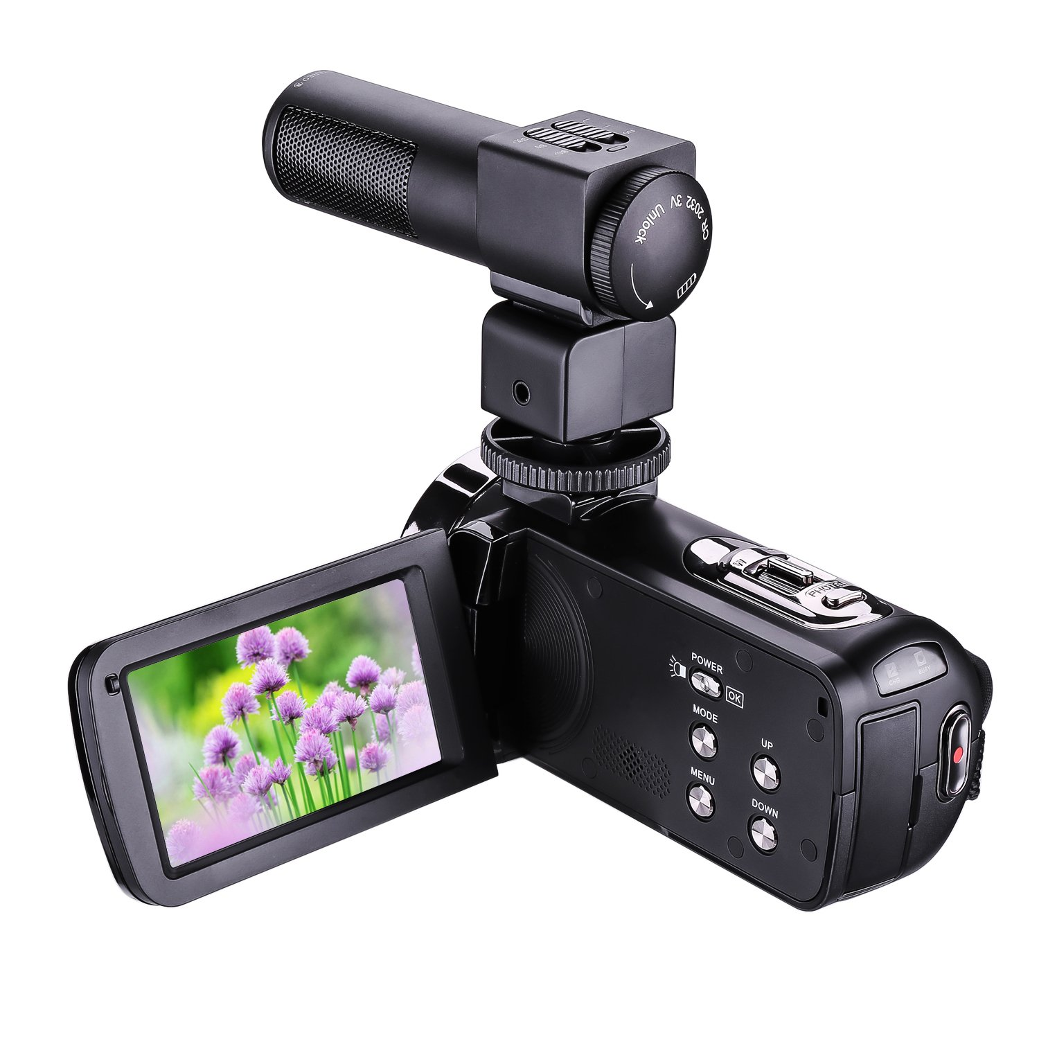 Video Camera,Bigaint HDV-301M Night Vision 1080P 16X Digital Zoom Camcorder 3 Inch LCD HDV Touch Screen Portable Video Camcorder With Microphone