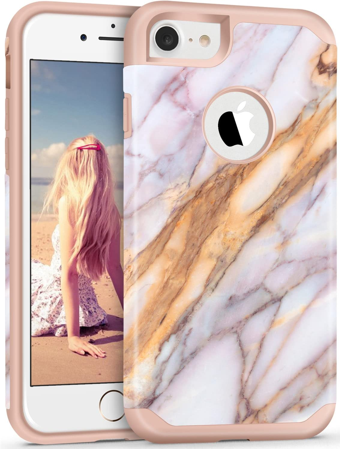 iPhone 7 Case,Imikoko iPhone 7 Marble Case Protective Shockproof Soft Silicone Hardshell Heavy Duty Slim Thin White Cute Case Cover for iPhone 7 Pink