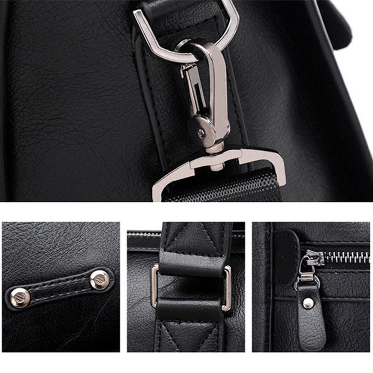 Amazon.com | gracosy Vintage Briefcase, Leather Business Bag Mens Large Working Bag Laptop Bag Teacher Bag for Travel Office Black-Medium 15.4 11.8 ...