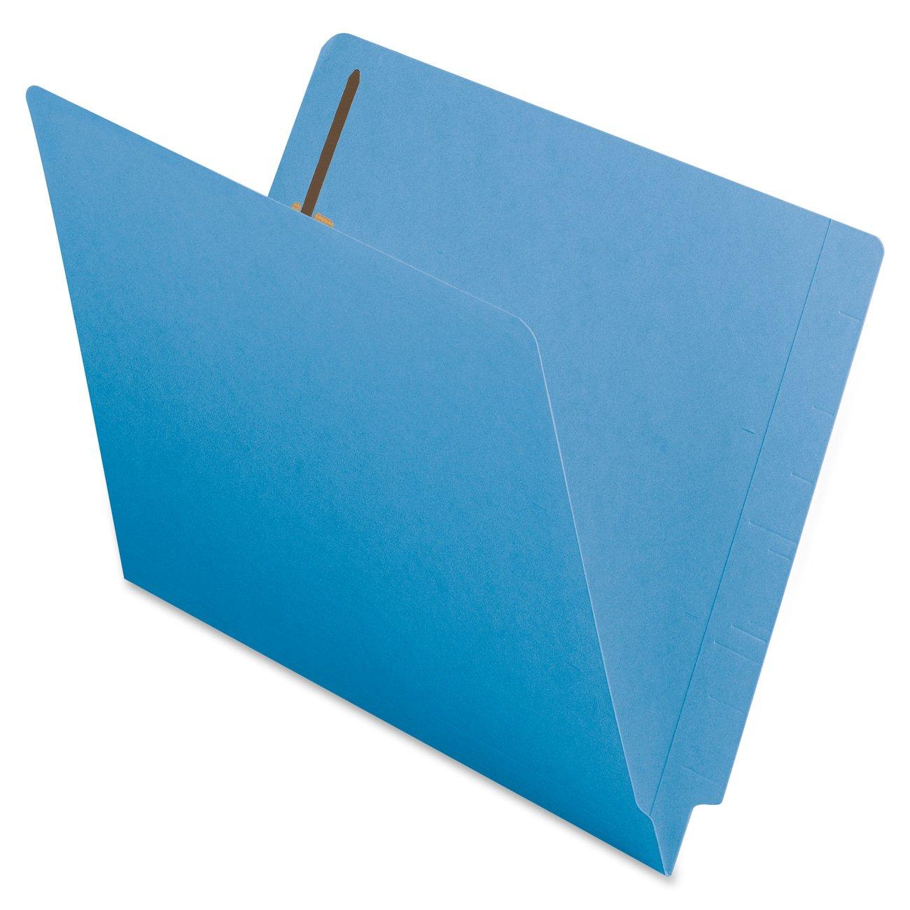Smead End Tab Fastener File Folder, Shelf-Master Reinforced Straight-Cut Tab, 2 Fasteners, Letter Size, Blue, 50 per Box (25040) by Smead