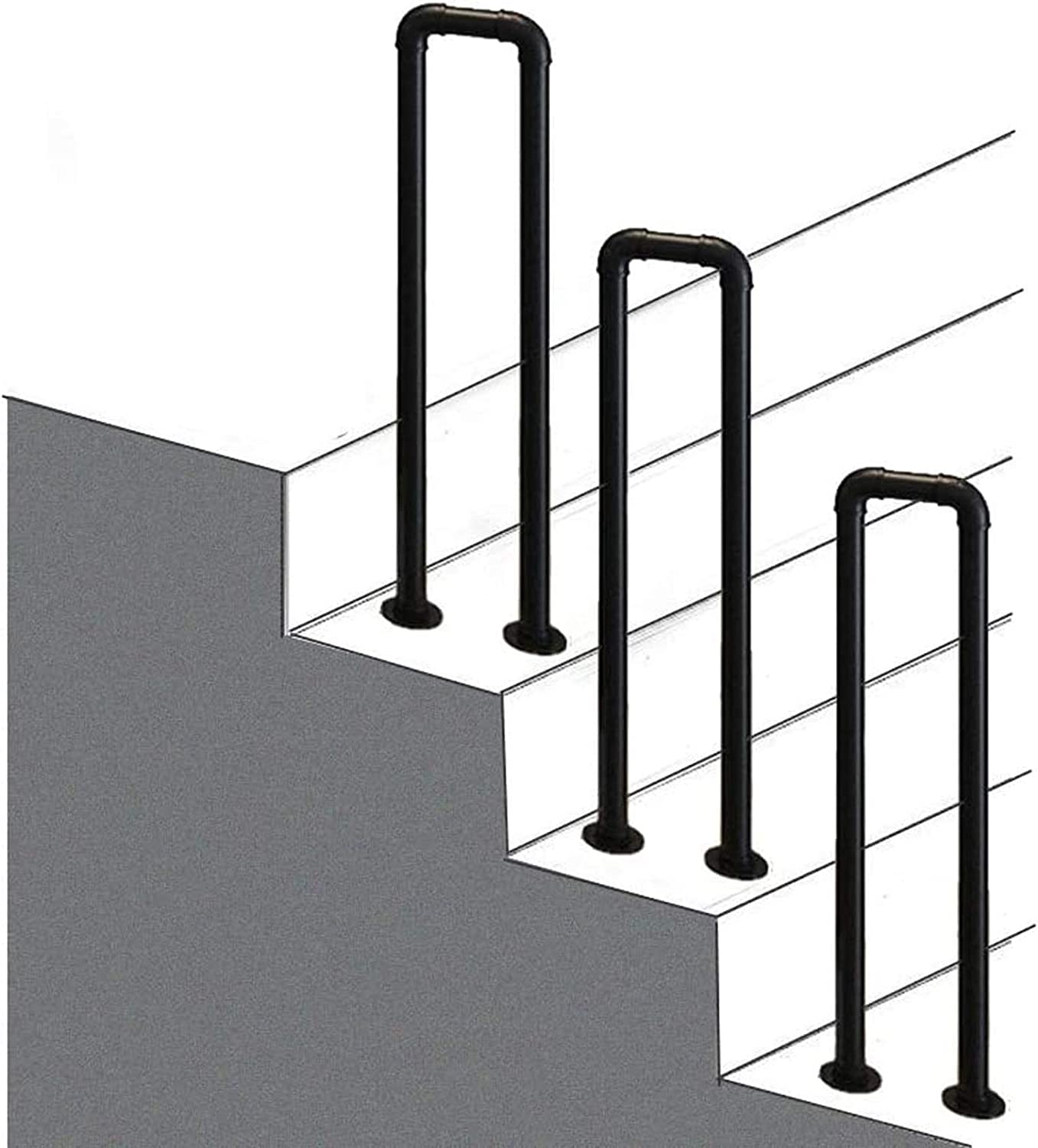 Handrail for Concrete Steps, U-shaped Stairs Banister Handrail for Outdoor Steps - Staircases Railing Handrails for Disabled Elderly Kids Black Metal Wrought Iron Outside - Complete Installation Kit