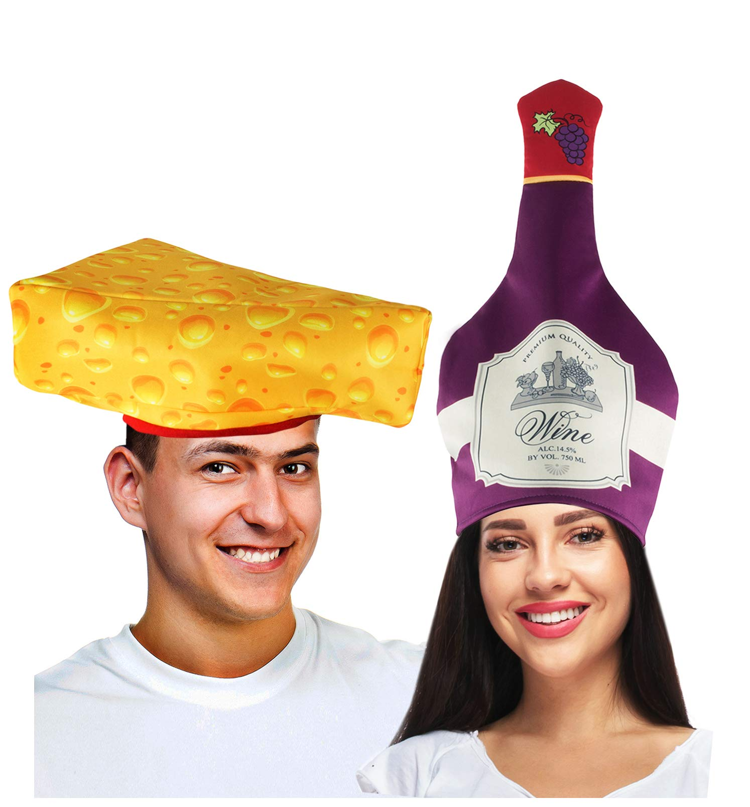 Couples Costumes - Wine & Cheese Couples Hat – Food Hats – Funny Costumes for Adults – 2 Pk
