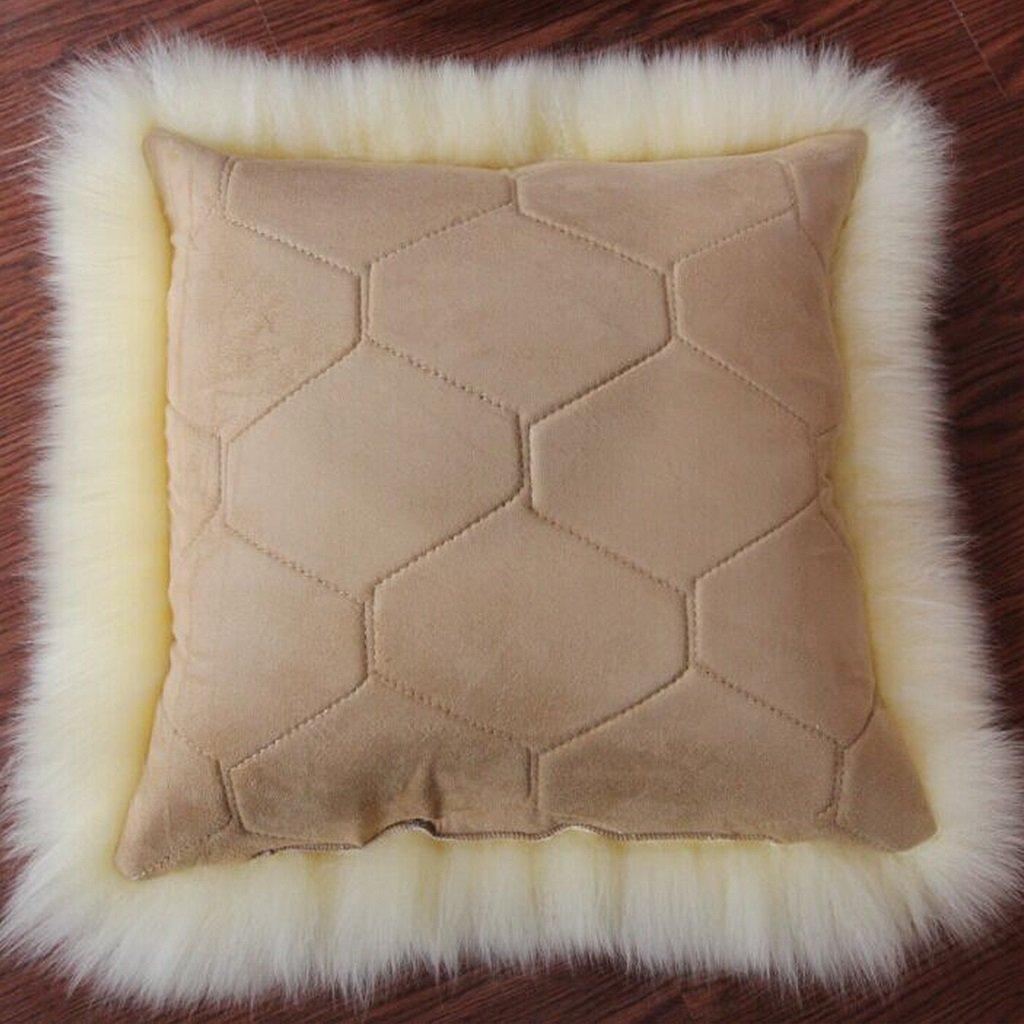 ZHEN GUO GUO GUO 1-seitig Echtes Wolle Lammfell Kissen Kissen Long Curly & Kissen Innen (Farbe   Weiß, größe   50  50cm) B07C6MPY9F Bettzubehr 36b024
