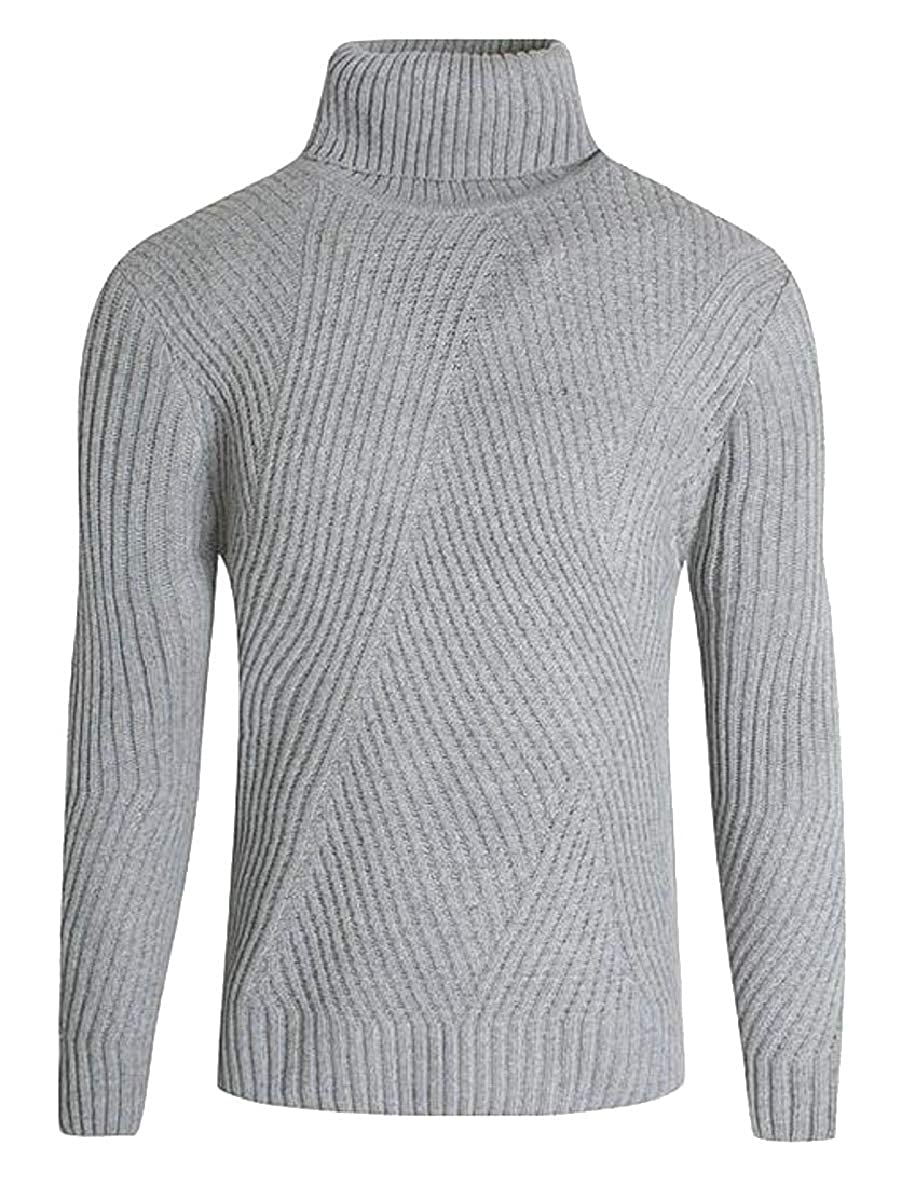 Smeiling Mens Slim Basic Thermal Turtleneck Pullover Ribbed Sweaters