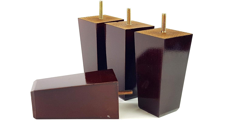4x gambe mobili piedi di ricambio in legno massello per divani, sedie, sgabelli, divani M10(10mm) PKC353Z Black Knightsbrandnu2u