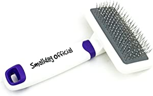 Smalldog Official, Sensitive Skin Gentle Dog Brush, for Small and Toy Breed Dogs to Remove Loose Hair, Mats, Dirt, Stickers, Detangling – Pain Free Grooming