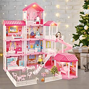 Dreamhouse Dollhouse Building Toys, Playset with Lights, Movable Slides, stairs, Furniture, Accessories, Dolls and Pets, Cottage Pretend Play House, DIY Creative Gift for Girls Toddlers(11 Rooms)