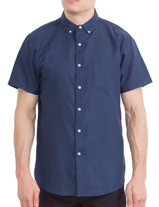 Visive Oxford Shirt for Men Camisas De Hombre Summer Tropical Shirts - Navy - 2X - Large