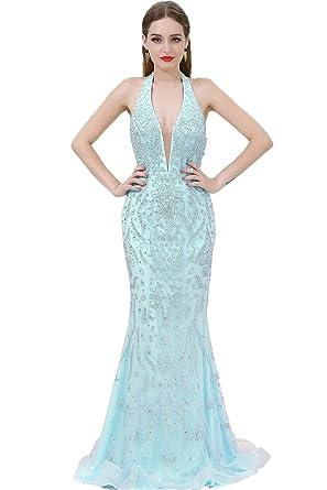 Onlybridal Womens Prom Dress Deep V Neck Mermaid Evening Dress Halter Backless Sleeveless Tulle Beaded Party