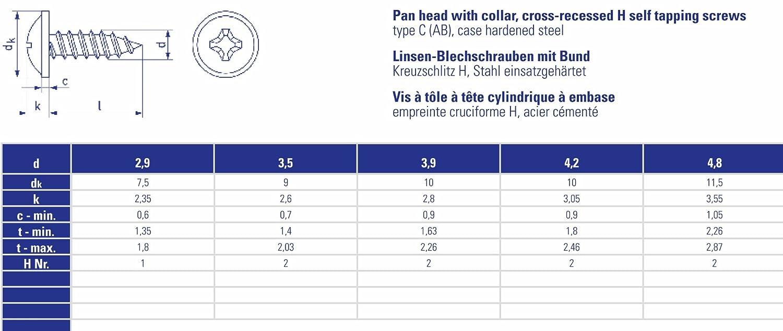 Stahl einsatzgeh/ärtet DIN 968 C 100 St/ück Linsen-Blechschrauben 4,2x13 mm schwarz verzinkt mit Bund und Kreuzschlitz H