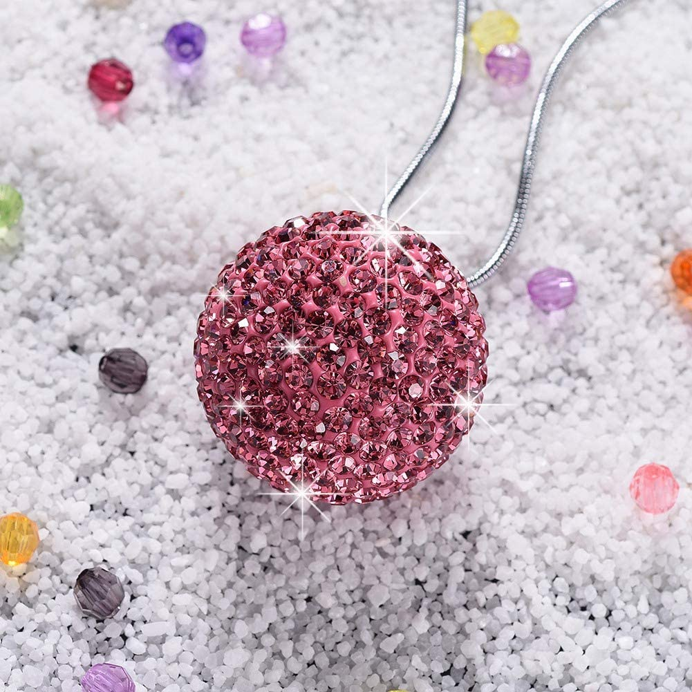 Crystal Flower Car Hanging Ornament Auto Rear View Mirror Pendant Accessories