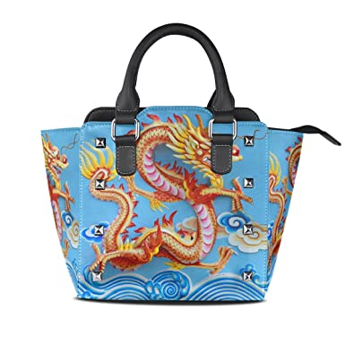c99d3d24438a0 Image Unavailable. Image not available for. Color: Use4 Women's Chinese  Dragon Flying Cloud Rivet PU Leather Tote Bag ...