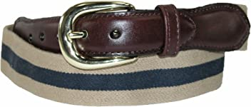 New Rogers-Whitley Men/'s Cotton with Leather Trim Braided Belt