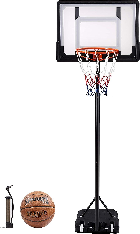 "CozyFit Portable Hoop /& Goal Basketball System Height Adjustable 65/""-104/"" Come with Basketball /& Ball Pump"