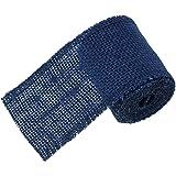Souarts Navy Blue Natural Jute Burlap Mesh Wrap Ribbon Width 6cm Length 2 Meters