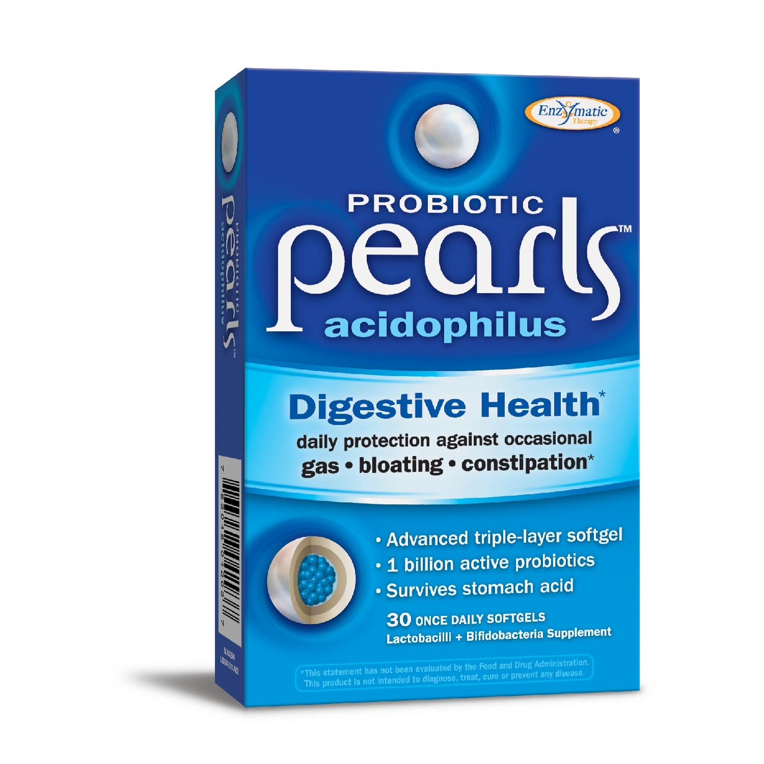 Enzymatic Therapy Probiotic Pearls Acidophilus (formerly Acidophilus Pearls), 30 Softgels, 30 Count