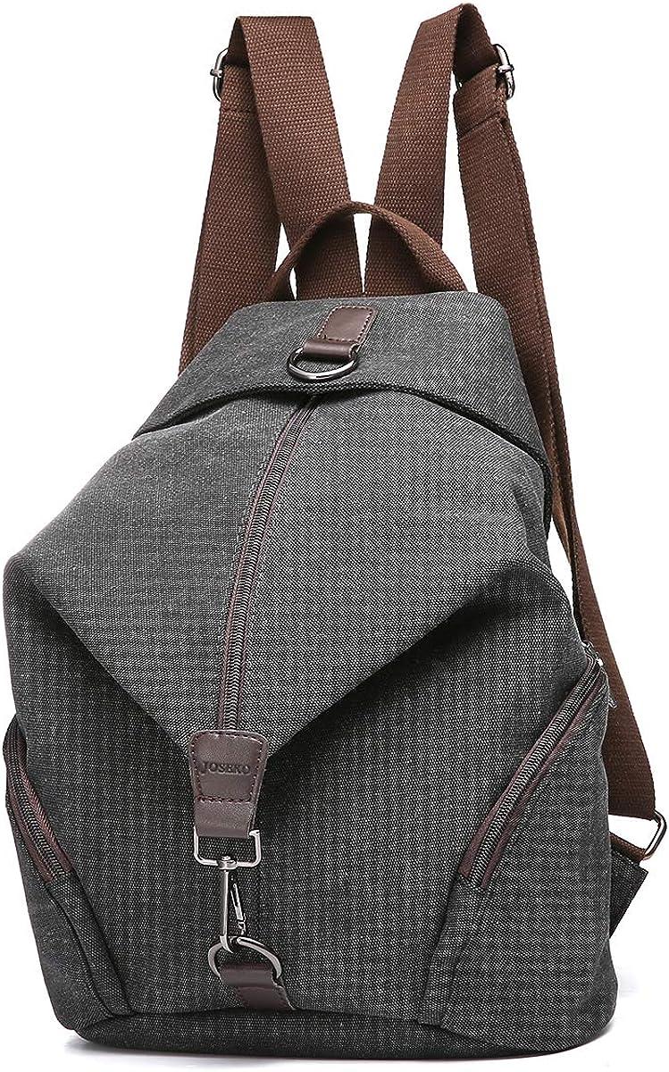 JOSEKO School Backpack Women, Casual Vintage Canvas Women Backpack Purse Ladies Large Capacity Travel Bag