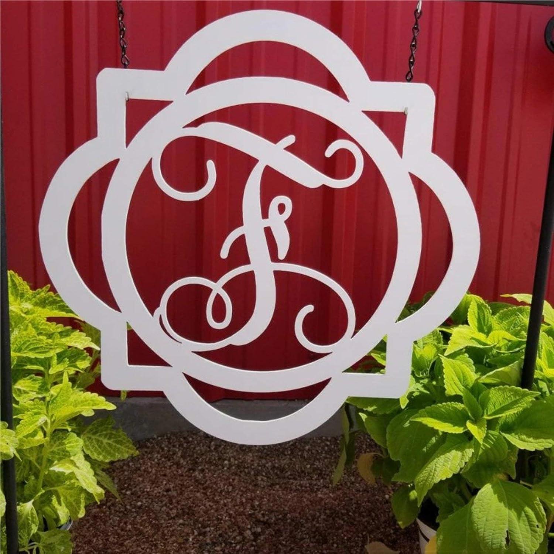 DONL9BAUER Metal Sign Letter F Metal Monogram Plaque Home Decor Wall Art Metal Sculpture Front Porch Door Hanger, Best Gift
