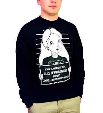 Amazoncom Alice In Wonderland Mugshot Sweatshirt Black Clothing