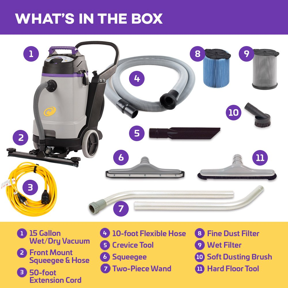 ProTeam Wet Dry Vacuums, ProGuard 15, 15-Gallon Commercial Wet Dry Vacuum Cleaner with Tool Kit and Front Mount Squeegee by ProTeam (Image #2)