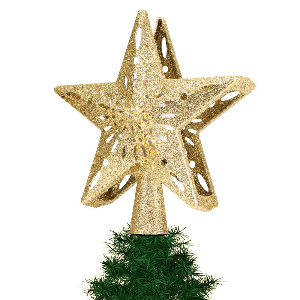 Stripe RGB ALLOMN Christmas Lighting US Plug Christmas Tree Topper Projector Light 3D Glitter Lighted Star Tree Topper with Adjustable LED Snowstorm//Snowman//Stripe RGB Projector Lights 3m Cable