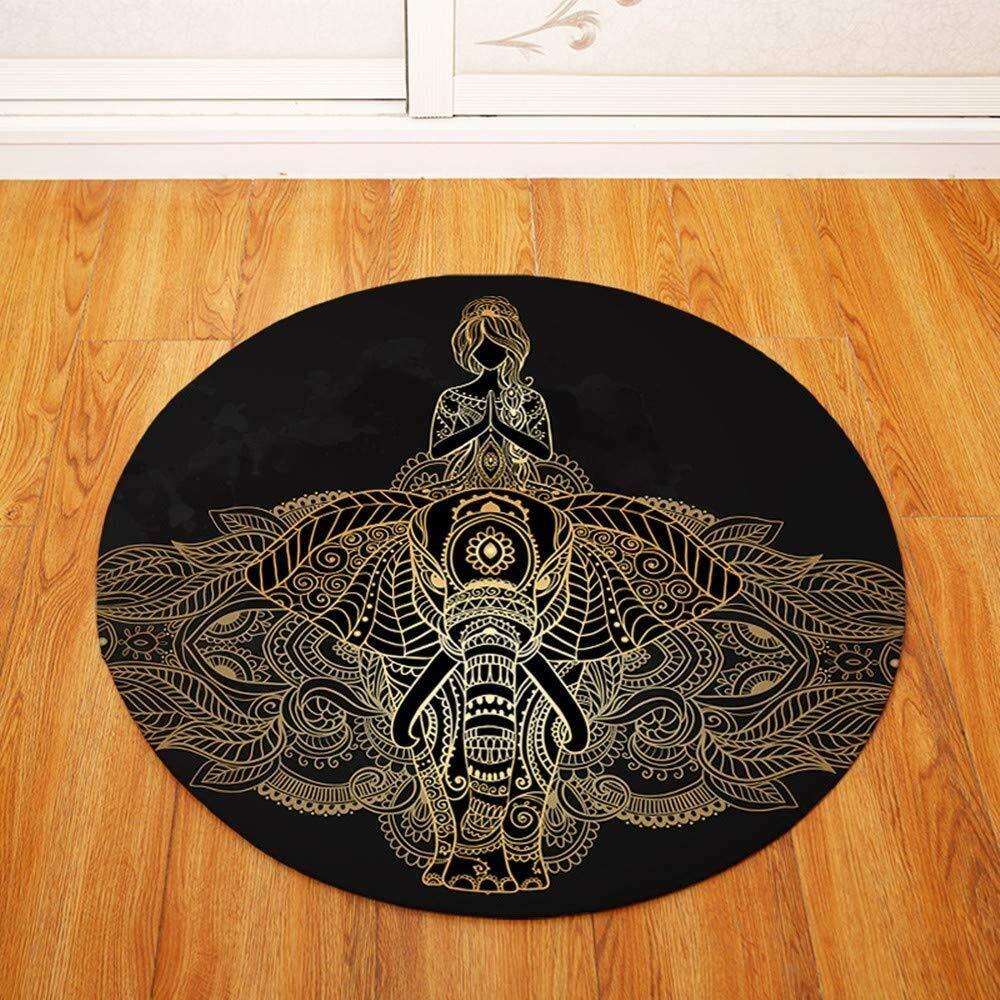 ETH Round Carpet Mat Indoor Flannel Anti-Slip Door Mat Floor Dirt Catcher Absorbent Pad 80 cm (Color : 8080)