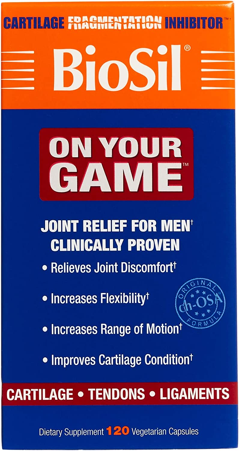 BioSil by Natural Factors, On Your Game, Joint Support for Men, Collagen Generator, 120 Vegetarian Capsules (120 Servings)