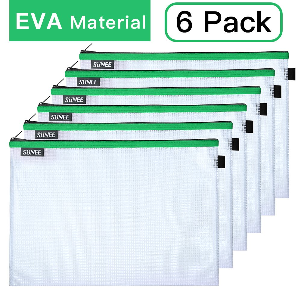 File Bags Zipper Pouch Large A4 Size, SUNEE Document Pouches Storage Bag Zip File Folder Holder EVA Material for Office School Family Supplies Business Travel (6 Pack, Green)