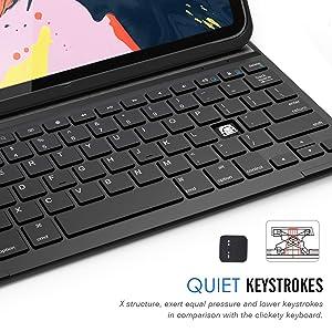 Arteck iPad Pro 11 inch Keyboard, Ultra-Thin Bluetooth Keyboard with Folio Full Protection Case for Apple iPad Pro 11-inch (2018) (Tamaño: iPad Pro 11 inch)