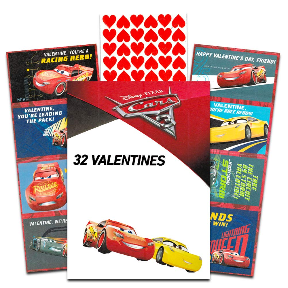 34 Count Paper Magic Group Disney Cars Valentine Cards Disney Cars Deluxe Valentines Day Cards with Stickers