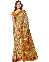 Ligalz Women'S Crepe Saree With Blouse Piece Blouse (L0111321$P_Beige_Free Size)