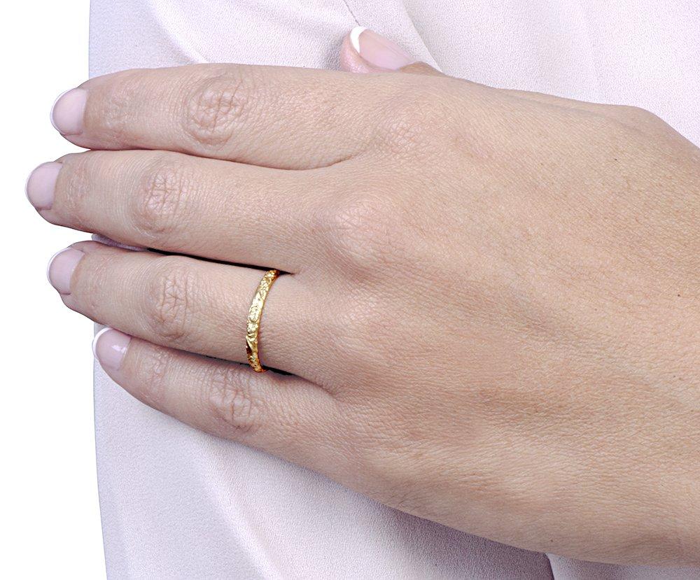 Amazon.com: Handmade Vintage Style Floral Engraved 14k White Gold ...