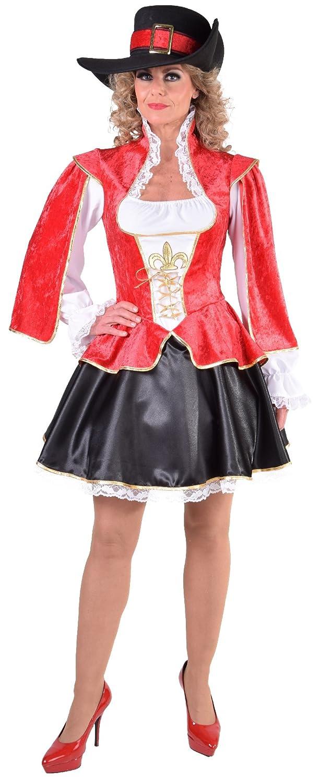 Narrenkiste M217118 rot-schwarz-weiß Damen Musketier Kleid-Kostüm