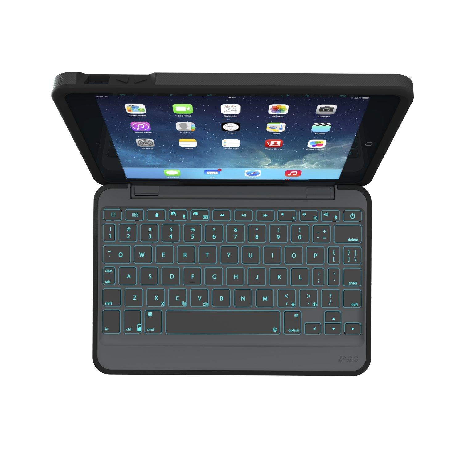 ZAGG Rugged Book Durable Case, Hinged with Detachable Backlit Keyboard for iPad Mini/Mini 2/ Mini 3 - Black