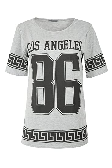 be7108bc3 Oops Outlet Womens Ladies Los Angeles 86 Maze Print Oversized Baseball T  Shirt Plus Size (US 12/14) Grey Los Angeles at Amazon Women's Clothing  store: