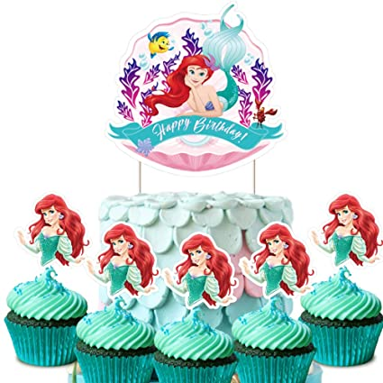 Terrific Ariel Cake Topper Cupcake Toppers Decorations Birthday Fish Party Funny Birthday Cards Online Overcheapnameinfo