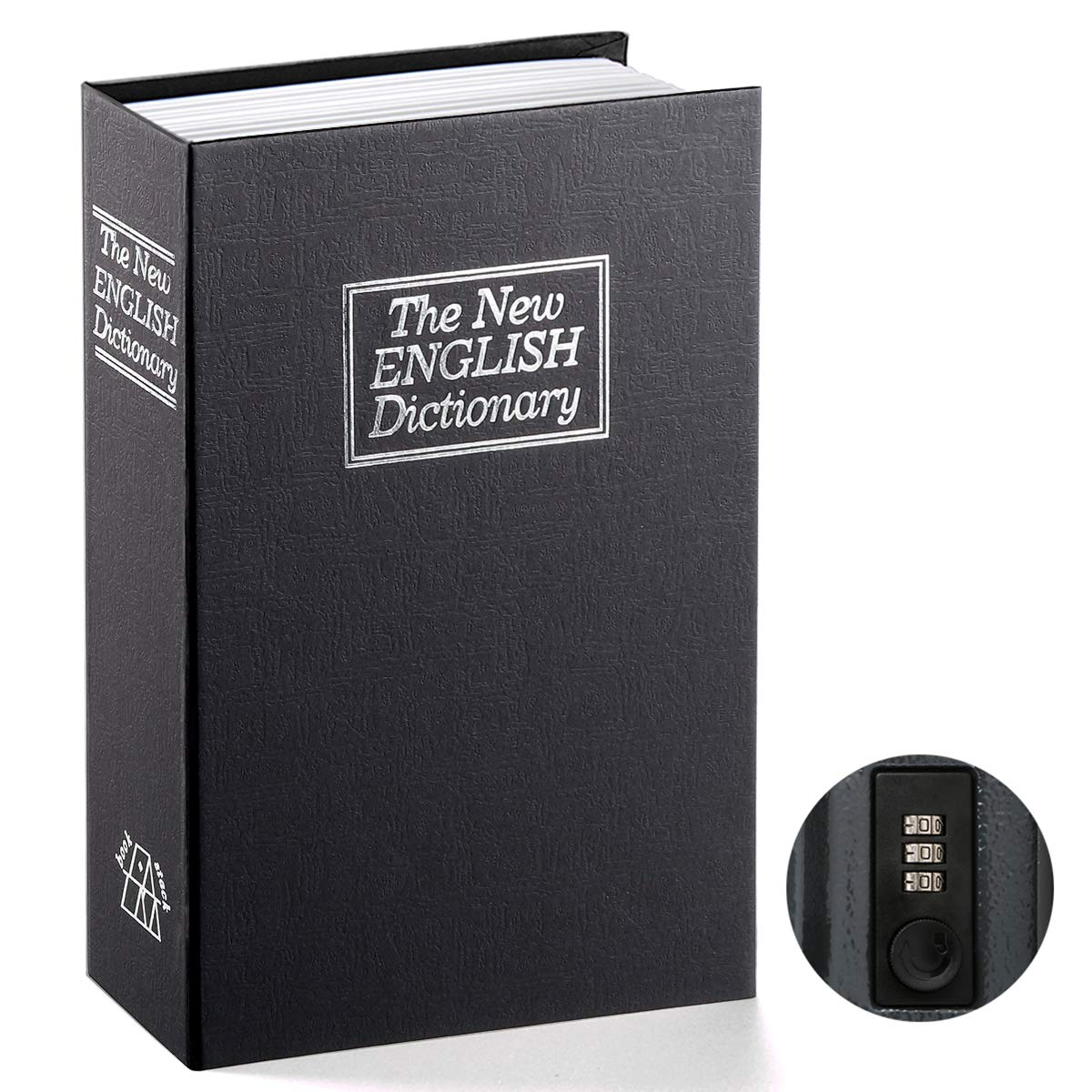 Book Safe with Combination Lock - Jssmst Home Dictionary Diversion Metal Safe Lock Box 2017, SM-BS0402L, Black Large by Jssmst