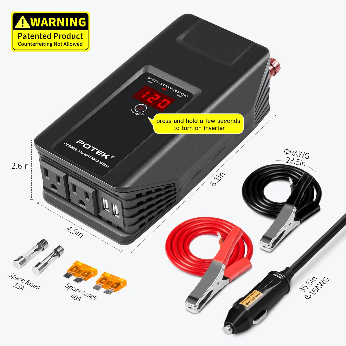 Smartphone,Camera and More Potek.Inc PI-750 Tablet POTEK 750W Power Inverter 12V DC to 110V AC Car Adapter with Two USB and AC Charging Ports for Laptop