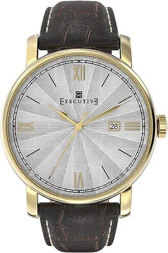 Executive Reloj Analógico para Hombre de Cuarzo con Correa en Cuero EX-1010-04: Amazon.es: Relojes