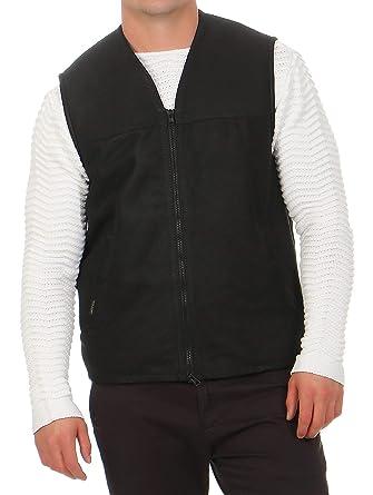 58e5bbb29f5d7b Hollert German Leather Fashion Lammfellweste - FIRMINIUS ohne Kragen Herren  Weste Lederweste Fellweste Größe M,