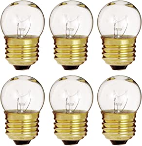 6 Pack of 7.5-Watt S11 Sign Indicator, 7.5S11 E26 Base Clear Incandesent Bulb