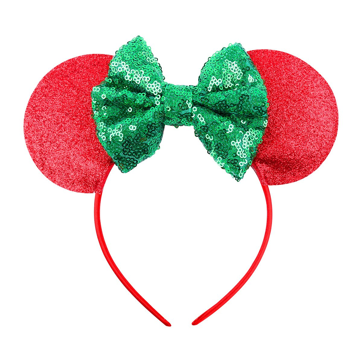 A Miaow Black Mouse Ears Headband MM Glitter Hair Hoop Girls Women Adults Butterfly Sequin Costum Hair Clasp Birthday Party Holiday Park Accessory  Red and Green
