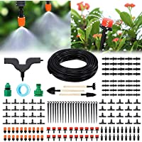 DIY Garden Irrigation System, infinitoo 15m Drip Irrigation Kit 168 Pcs with Adjustable Nozzles Drippers Distribution…